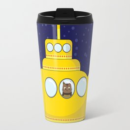 Yellow submarine in deep sea with a cat and bubbles Travel Mug