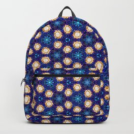 Gorgeous Blue and Gold Beaded Geometric Pattern Backpack