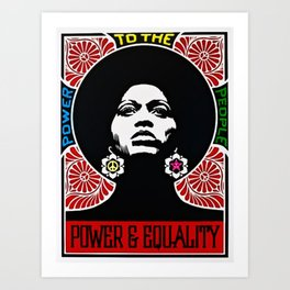 Rainbow Motif - Angela Davis - Power & Equality - Power to the People Vintage Poster Art Print