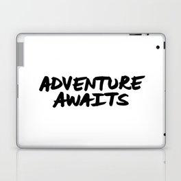 'Adventure Awaits' Hand Letter Type Word Black & White Laptop & iPad Skin