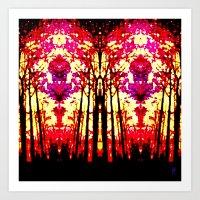 Sunset Stain Glass Art Print