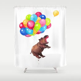 Hippopotamus Can Fly Shower Curtain