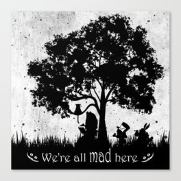 We're All Mad Here Alice In Wonderland Silhouette Art Canvas Print