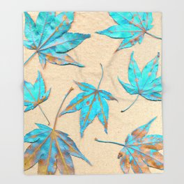 Japanese maple leaves - turquoise and gold on unbleached paper Throw Blanket