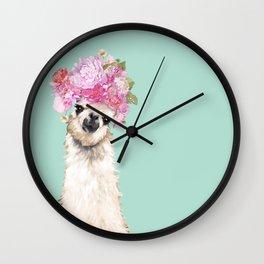 Llama with Beautiful Flower Crown Wall Clock