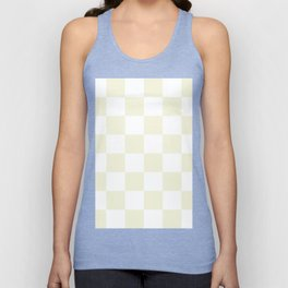 Large Checkered - White and Beige Unisex Tank Top