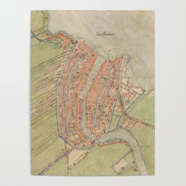 Vintage map of Amsterdam (1560) Poster
