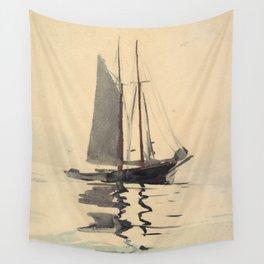 Vintage Schooner Sailboat Watercolor Painting (1894) Wall Tapestry