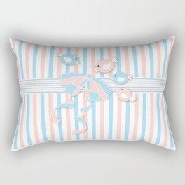 Blue, Pink & White Rectangular Pillow