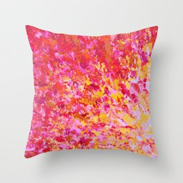 ROMANTIC DAYS - Lovely Sweet Romance, Valentine's Day Sweetheart Pink Red Abstract Acrylic Painting Throw Pillow