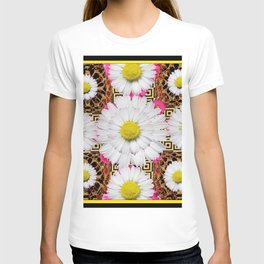 White Shasta Daisy Fuchsia  Pink Purple Patterns, T-shirt