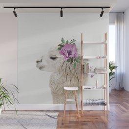 Baby Alpaca with Flower Crown Wall Mural