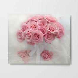 Pink Roses White Roses Shabby Chic Romantic Floral Home Decor Metal Print