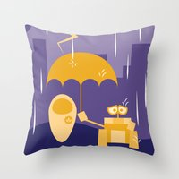 wall e Throw Pillows featuring Wall-E by Gardner Art and Design