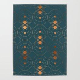 Copper Art Deco on Emerald Poster