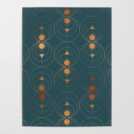 Copper Art Deco on Emerald Poster