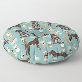 German Shorthaired Pointer Coffee Dogs - dogs and coffee, gsp, cute dog, pet, latte Floor Pillow