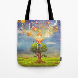 Little boy sitting on the tree and  reading a book, objects flying out Tote Bag