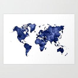 Dark navy blue watercolor world map Art Print