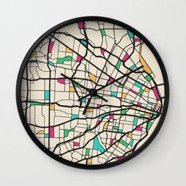 Colorful City Maps: St. Louis, Missouri Wall Clock