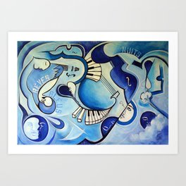 Reves Bleus (blue dreams) Art Print