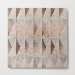 Copper Foil and Blush Rose Gold Marble Triangles Argyle Metal Print