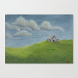Distant Barn on a Cloudy Day Canvas Print