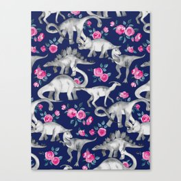 Dinosaurs and Roses on Dark Blue Purple Canvas Print