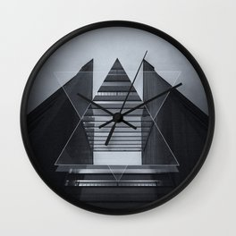 The Hotel (experimental futuristic architecture photo art in modern black & white) Wall Clock