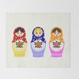 Russian matryoshka nesting dolls Throw Blanket