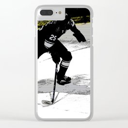 On the Move - Hockey Player Clear iPhone Case