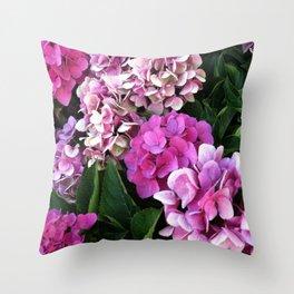 Pink Hydrangas Throw Pillow