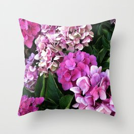Pink Hydrangas Throw Pillow