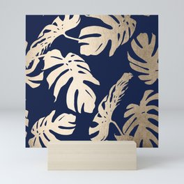 Simply Palm Leaves in White Gold Sands on Nautical Navy Mini Art Print