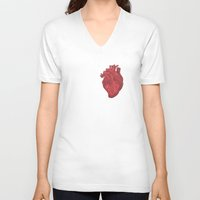 anatomical heart V-neck T-shirts featuring Anatomical Love by Orange Blood Gallery