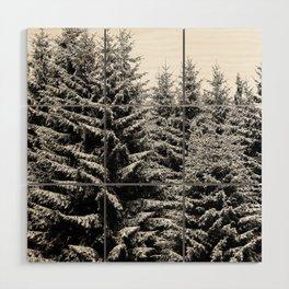 snowy christmas TREES Wood Wall Art