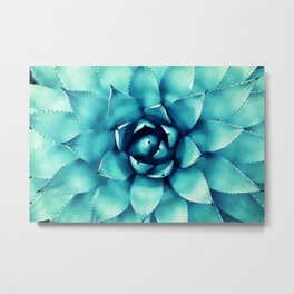Macro Turquoise Plant Metal Print