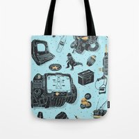 fallout Tote Bags featuring Artifacts: Fallout by Josh Ln