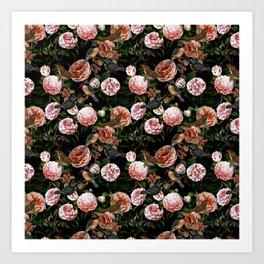 Vintage & Shabby Chic - Blush Camellia & Kingfishers Art Print