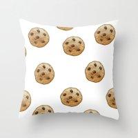 emoji Throw Pillows featuring COOKIE EMOJI by FaniS