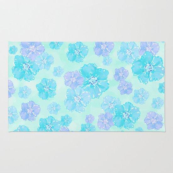 Blossoms Aqua Blue Mint Rug