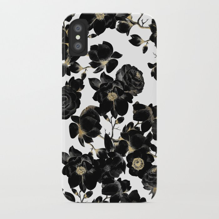 modern elegant black white and gold floral pattern iphone case