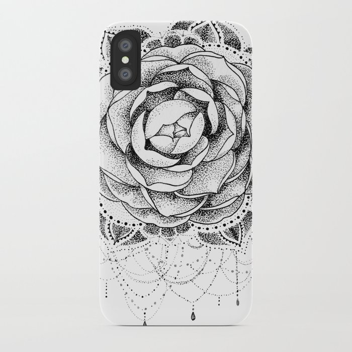 64d3a082c Camellia Dotwork Mandala iPhone Case by robinelizabethart | Society6