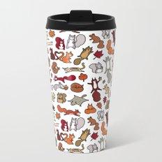 Squirrels in Fall Doodle Metal Travel Mug