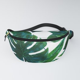 Tropical Nature Monstera Watercolor Painting, Botanical Jungle Dark Palm Illustration Fanny Pack