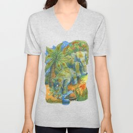 elephants in africa Unisex V-Neck