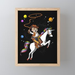 Cat Cowboy Riding Space Unicorn Framed Mini Art Print