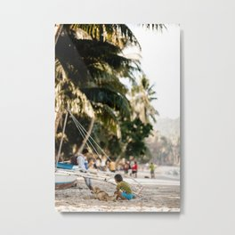 Child with dog on tropical beach with palm trees | Travel print | photography | wanderlust Metal Print