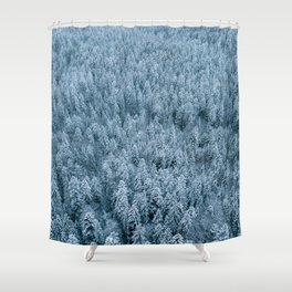 Winter pine forest aerial - Landscape Photography Shower Curtain