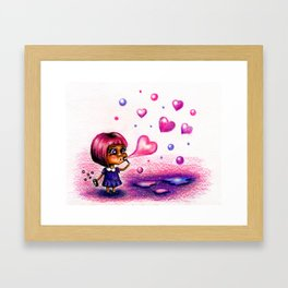 Girl blows soap bubbles on valentines day Framed Art Print